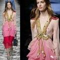 2016 Women summer  runway fashion sequined dress elegant beading sexy V neck ruffle designer layered dress holiday beach dress