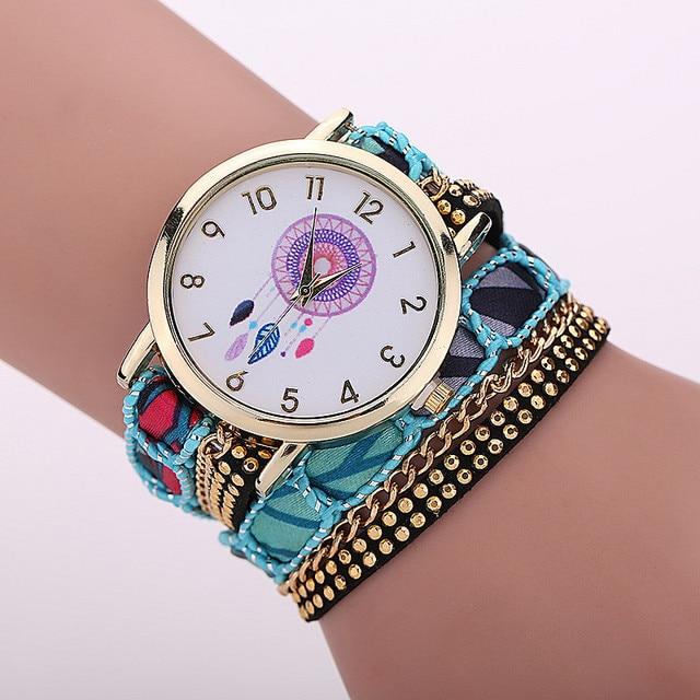 Gnova Platinum Large Strap BIG Dial Native Ethnic Style mexican atrapasueno Fashion woman wristwatch Lace Bracelet watch A295