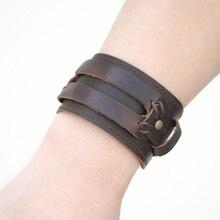 Men's Stylish Wide Leather Bracelet with Press Studs