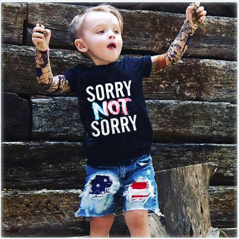 2017 Kids boy clothes Spring Cotton T-shirt Long sleeve Children Tattoo Tees girls boys clothing Letter Printed SORRY NOT SORRY cotton letter patterned t shirt
