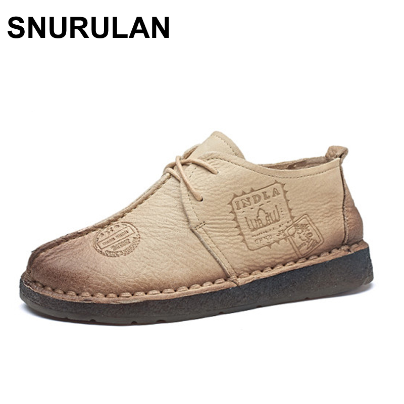SNURULAN Genuine Leather Flat Shoe Pregnant Women Shoe Mother Driving Shoe Female Moccasins Women Flats Hand-Sewing Shoes