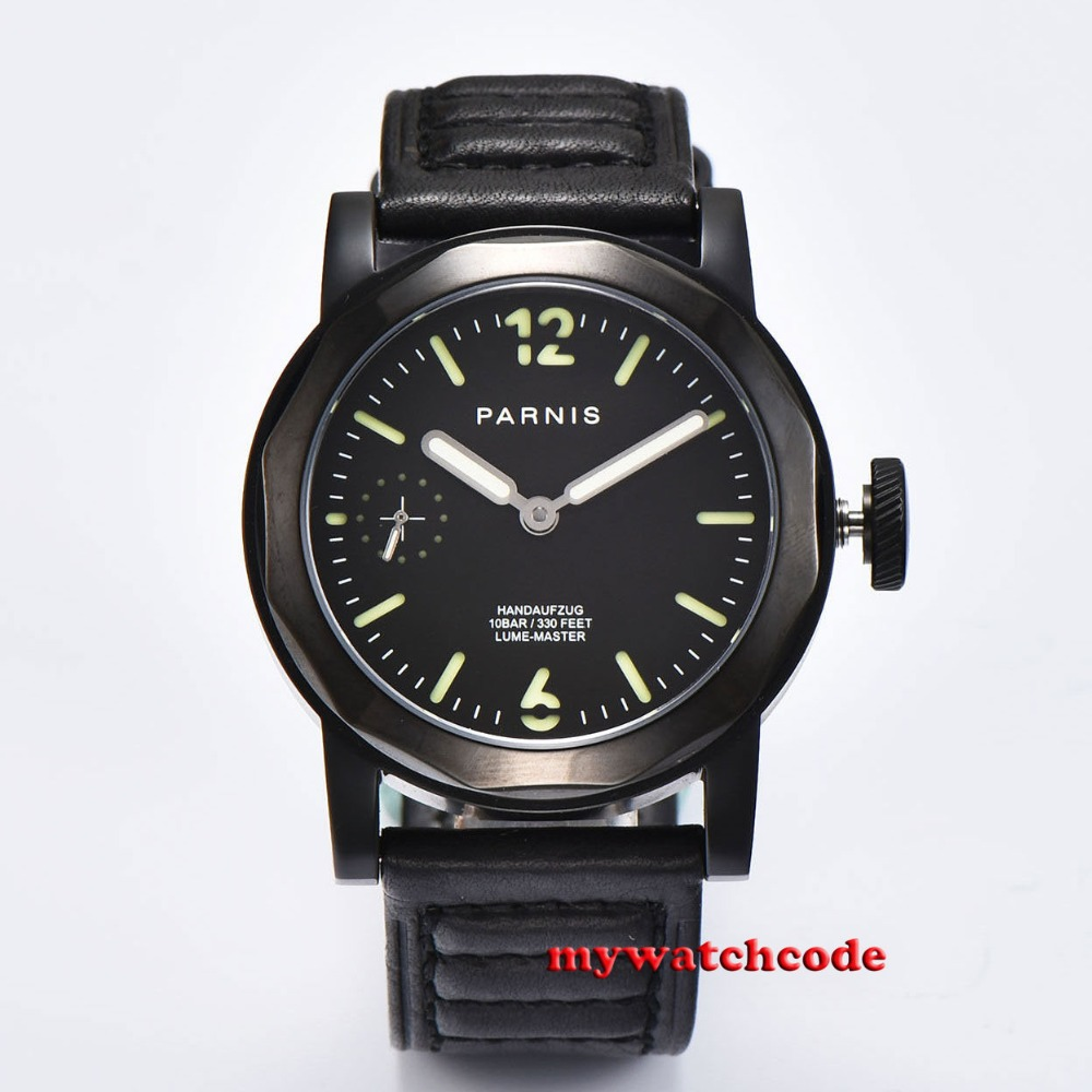 44mm Parnis black dial luminous makrs black leather strap Sapphire glass 6497 hand winding Men's Watch P697