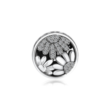 CKK Fits For Pandora Charms Bracelets Sparkling Sunflower Charm 100% 925 Sterling-Silver-Jewelry