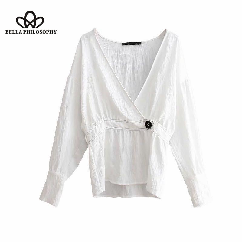 Manga Ocasional Moda V Tops Cuello La Color De Kimono Golpeó Blusa Marca White Blanco Cruz Línea 2018new Larga Maravilla Mujer Femininas x1wqn4n