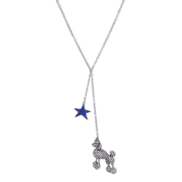 Lovely fashion jewelry crystal sheep blue star pendant necklace lovely fashion jewelry crystal sheep blue star pendant necklace silver color chain thin cute long necklace aloadofball Gallery