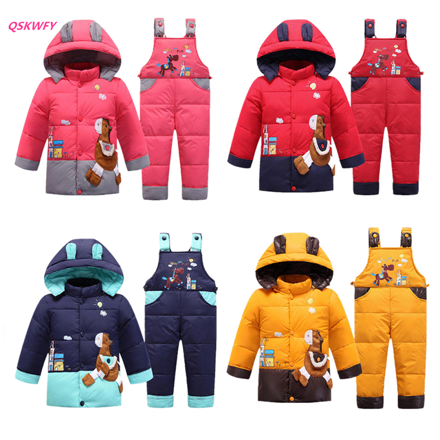 3ed0fecf1 2018 children winter russia ski suit Baby Boys Thick Hooded Jacket+ ...
