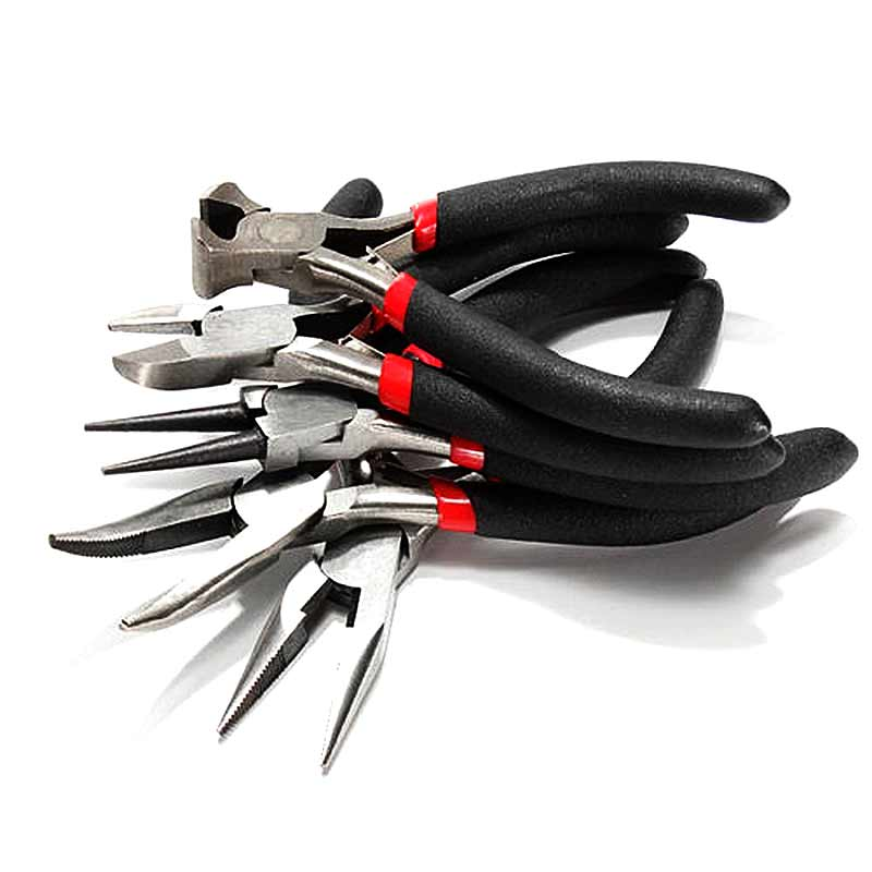 5pcs Jeweler Pliers DIY Tool Set Round Long Bent Daigonal Side Cutter End Cutting Nose Jewelry Making Beading Wire ALI 7pcs mini beading pliers tools round flat long nose multi size pliers set