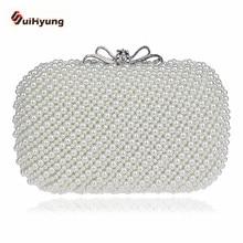 Kostenloser Versand Retro Perlen Tageskupplungen Mode Elegant Perle Handtasche Hochzeit Abendtasche Mit Bogen Schnalle 2 Farben