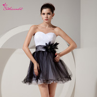 Alexzendra Simple Mini Tulle A Line Black Prom Dresses with Sash Formal Evening Gown Party Dresses Plus Size