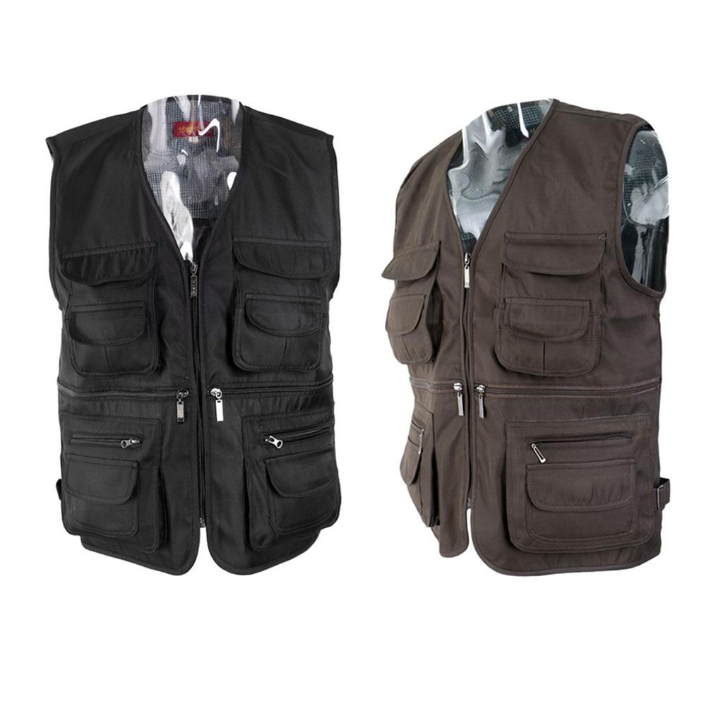 Clothing Mens Multi Pocket Vest Waistcoat Jacket Gilet Waistcoat Gilets