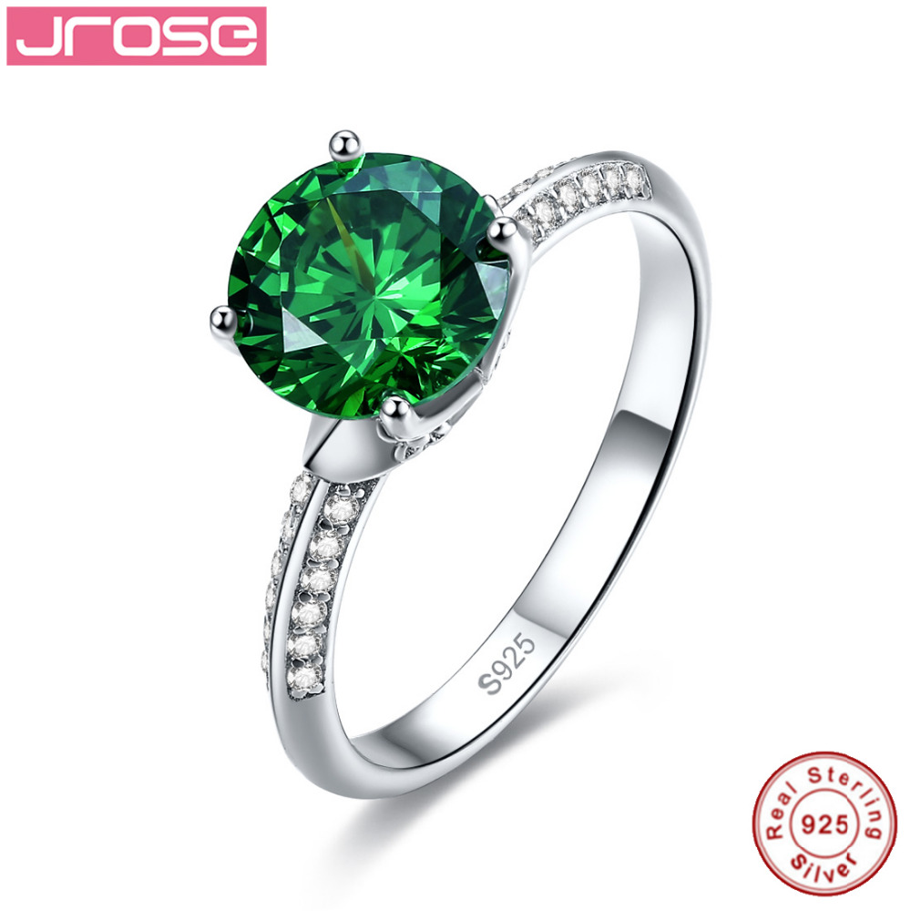 Jrose Round Green Created Emerald Solitaire Ring 925 Sterling Silver Rings for Women Fine Jewelry Size 6 7 8 9 Free Shipping