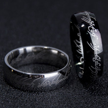 6MM Stainless Steel Silver Black Gold Color Titanium Scripture Exotic Ring For Man Women Wholesale Male