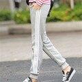 Mujer Pantalones 2016 Pantalones Harén Mujeres Pantalones Casuales pantalones de Chándal Loose Pant 3 Rayas Resorte de Las Señoras Capris pantalon femme