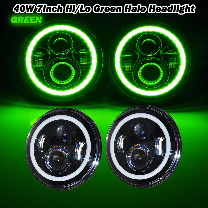 7 Inch Round Green halo Ring Angel eyes LED Headlights DRL  Fits for  H6024 97-15 Jeep Wrangler Hummer Land Rover
