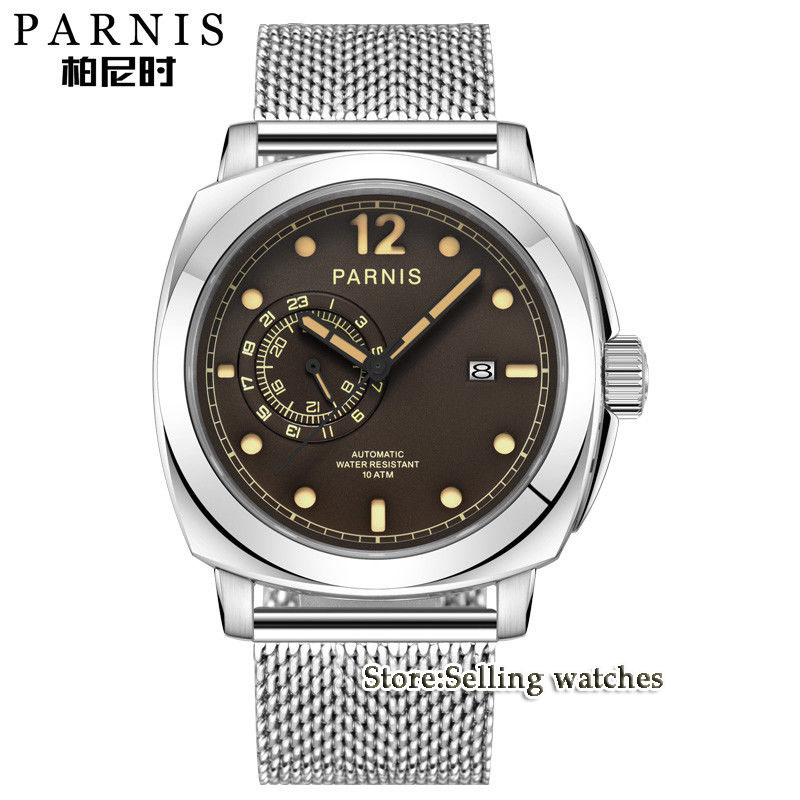 Modisch 44mm Parnis Sapphire Glass coffee Dial Calendar MIYOTA mens watches top brand luxury automatic mechanical Mens Watch 42mm parnis withe dial sapphire glass miyota 9100 automatic mens watch 666b