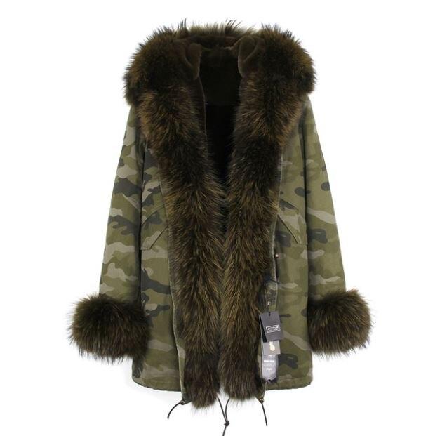 Американский стиль Горячая Распродажа Женская мода Большой настоящий Енот с капюшоном и джинсы с отворотами плюс размер толстые длинные пальто куртки верхняя одежда бренд - Цвет: C4