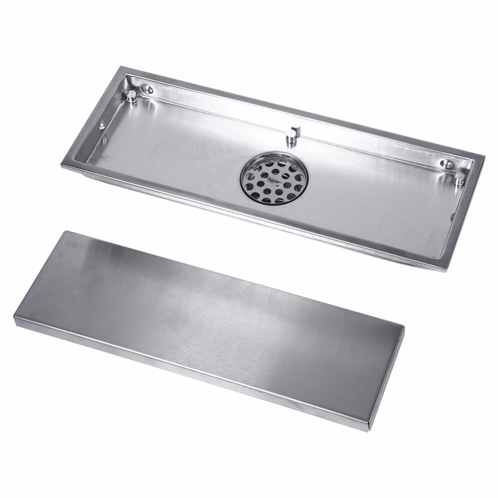 Image 2 - 1 Set Floor Drains Stainless Steel Linear Shower Floor Drains Tile Insert Drain Channel for Bathroom Kitchen Channel Tile Drains-in Drains from Home Improvement