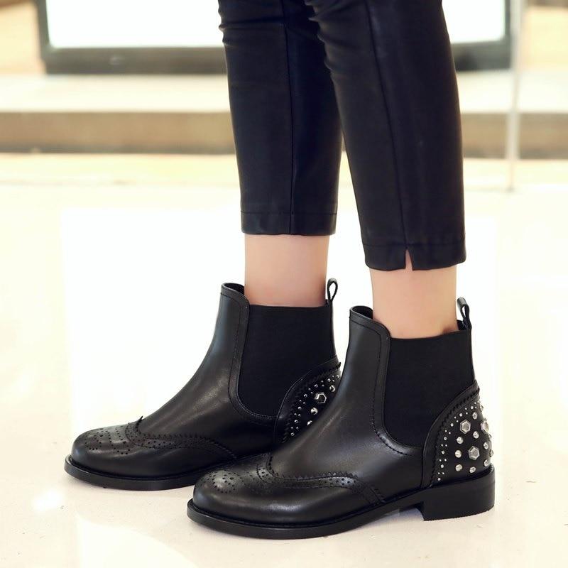 Frauen Stiefel Starke Mädchen Allbitefo Absätzen Mode Inside Plush Ferse Schuhe no Echtem Inside Marke Leder Knöchel Nieten Niedrigen wIXqXd