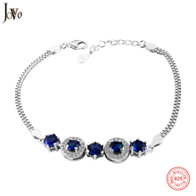 JOVO Blue Sapphire Bracelet For Women 100% 925 Sterling Silver Jewelry Romantic Wedding Gift New