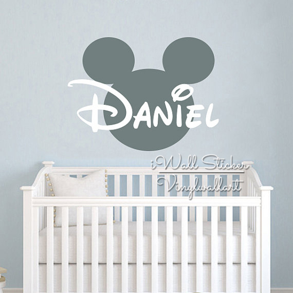 Custom name wall sticker kids room baby nursery name wall decal cut vinyl stickers personalized micky