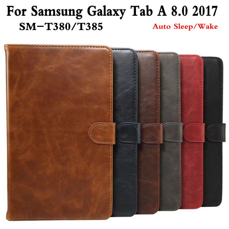 Retro Stand Smart PU Leather Cover for Samsung Galaxy Tab A T380 T385 2017 8.0 Tablet Funda Case+Free Screen Protector+Pen