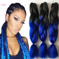1-10Pcs Ombre Blue Kanekalon Braiding Hair For Box braids  100g per pc Synthetic Braiding Hair Extension 24inch Purple Croche