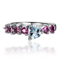 Hutang Women S Natural Aquamarine And Rhodolite Garnet Gemstone 925 Sterling Silver Heart Ring Wedding