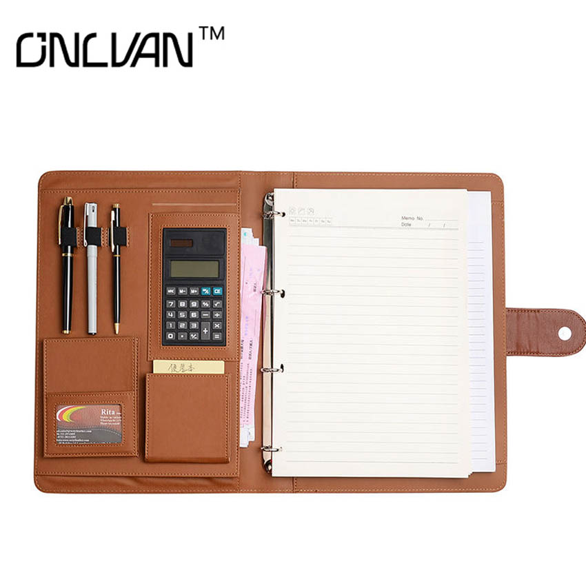 ONLVAN PU Leather Padfolio Document Holder Brown Color Manager Folder with Calculator Office Stationary Business Accessories