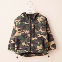 2016 Spring autumn Camouflage clothing boys girls Windbreaker child long-sleeve with a hood jacket outerwear boy coats