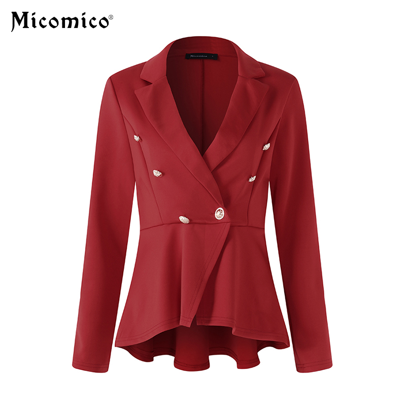 Women Fashion Jacket Coat Suit Pleated Long Sleeve Turn Down Collar Double-breasted Jacket Coat Work Office Jacket