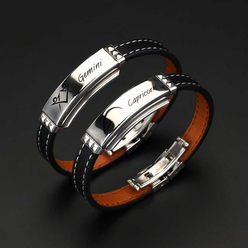 High Quality 12 Constellations Bracelet 2019 Fashion Jewelry Black Leather Stainless Steel Men Casual Zodiac Signs Punk Bracelet