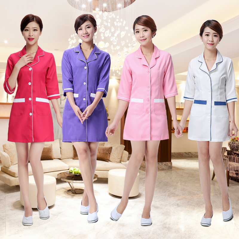 2018 Hot New Arrival Lab Dress Women Long Sleeved Medical Uniform Attire Beauty Salon Spa Fashion Hotel Waiter Workwear Clothing Rich And Magnificent Lab Coats Back To Search Resultsnovelty & Special Use