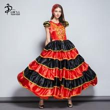 Юбка фламенко 360 испанский сеньорита танцор фламенко маскарадный костюм/испанский танец фламенко