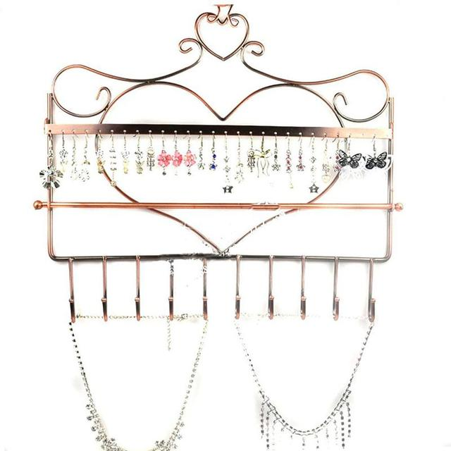 Novelty Heart Shaped Wall Mount Jewelry Organizer Hanging Display