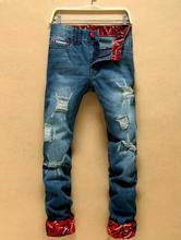 Оптовая горячие отверстие прилив бренда джинсы отверстие джинсы отпечатано мужчины