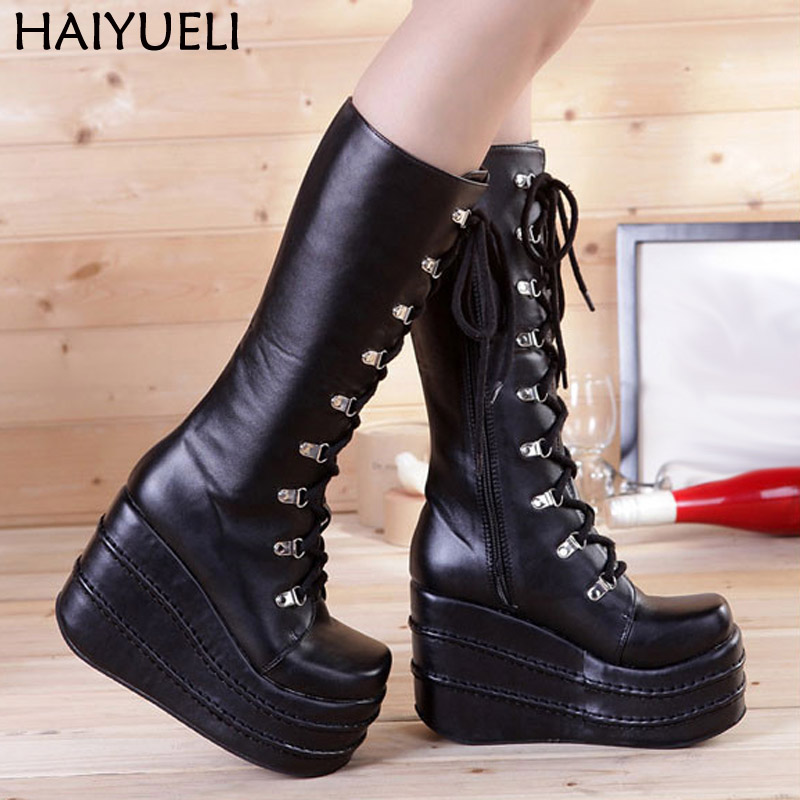 Womans Boots White/Black Cosplay Boots Square Toe Wedges Platform Pu Leather Knee High Boots Women Shoes High Heel 11cm rwby lie ren cosplay boots shoes adult men s pu leather flats knee high black peep toe boots shoes custom made