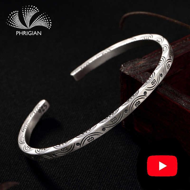 NOT FAKE S990 Fine Jewelry  925  Sterling Silver Bangle infinity Ethnic flower totem Natural Women Luxury Elegant S925 925NOT FAKE S990 Fine Jewelry  925  Sterling Silver Bangle infinity Ethnic flower totem Natural Women Luxury Elegant S925 925