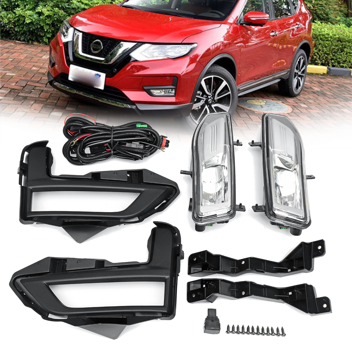 2018 Front Bumper Driving Spot Light Fog Lamp Assembly Kit for Nissan Rogue for Nissan X-Trail fog light lamp kit for nissan rogue x trail x trail 2014 2015 2016