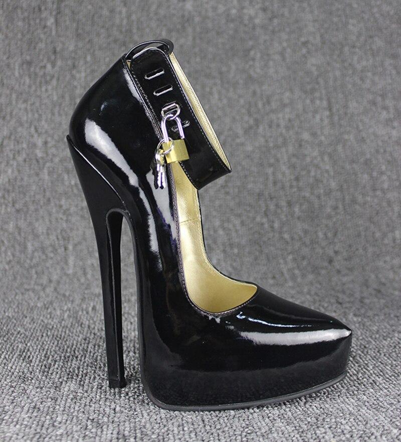 grain leather high heel 20cm high heel