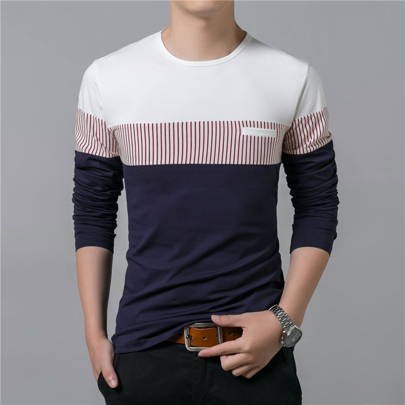 COODRONY T-Shirt Men 17 Spring Summer New Long Sleeve O-Neck T Shirt Men Brand Clothing Fashion Patchwork Cotton Tee Tops 7622 11