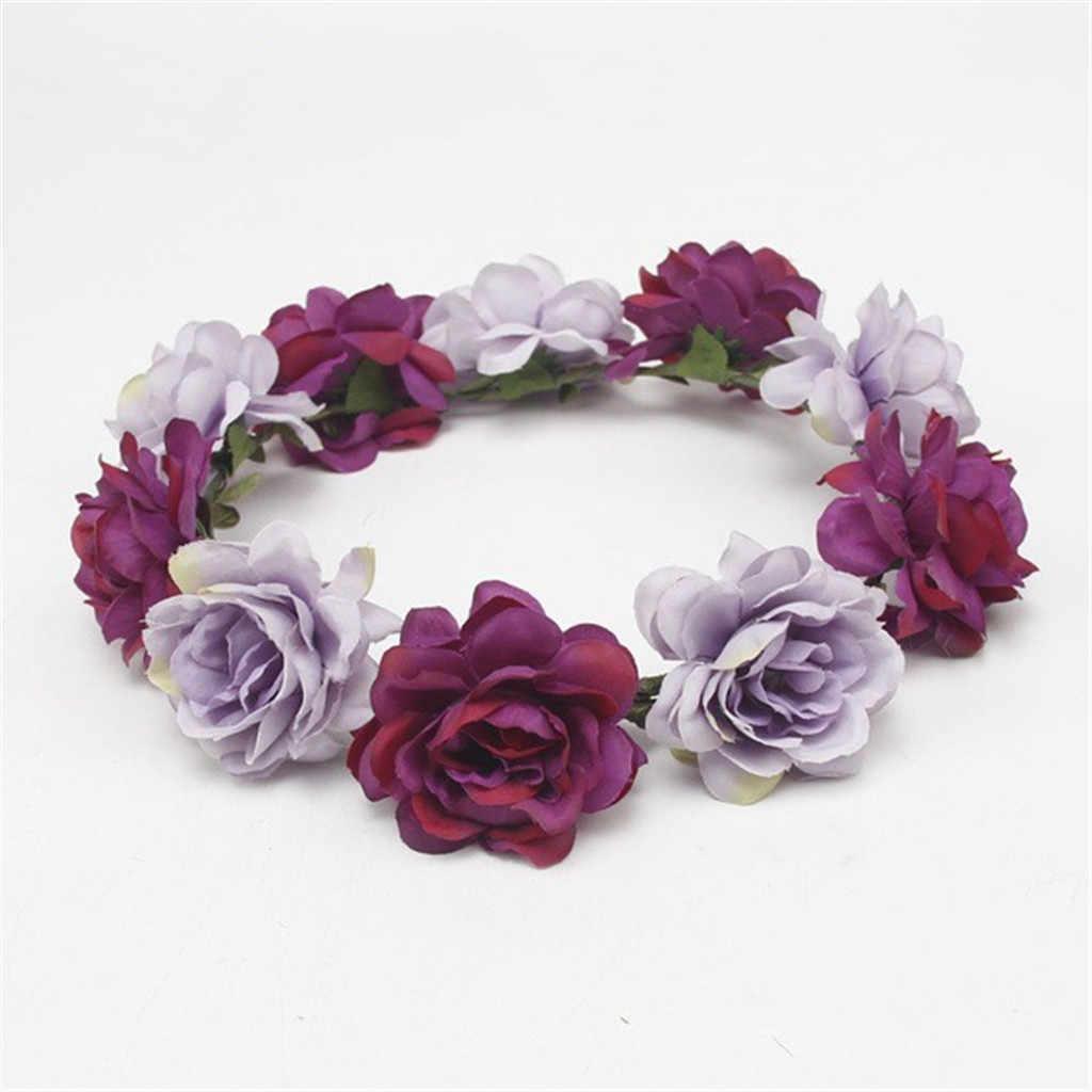 Свадебная Цветочная повязка для волос, Цветочная повязка на голову лента-гирлянда, бант для девочки, цветочный венок, Эластичные аксессуары для волос