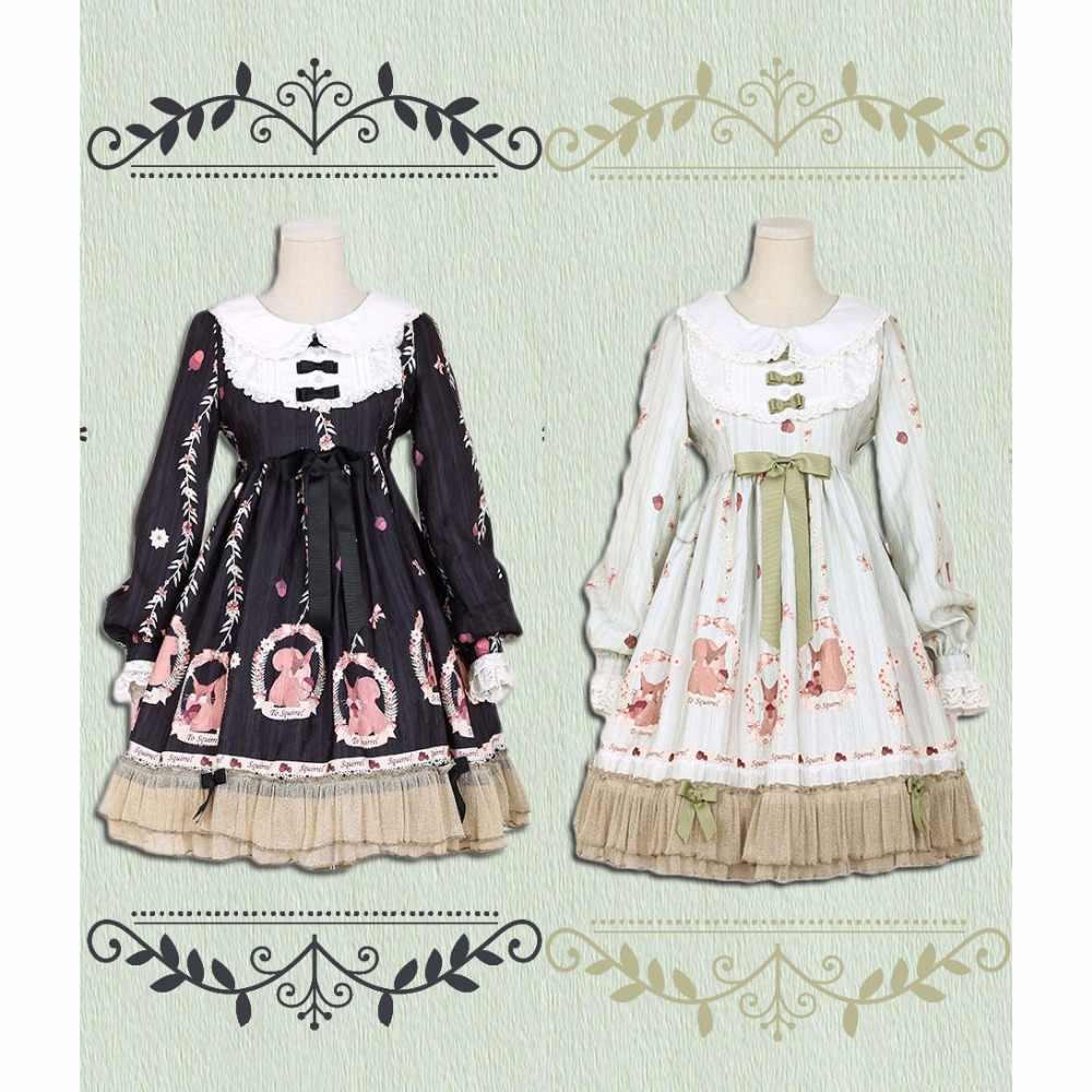 596a3308866 Lolita Dress Sweet Cute Japanese Kawaii Girls Princess Maid Vintage Green  Black Forrest Squirrel Women Summer