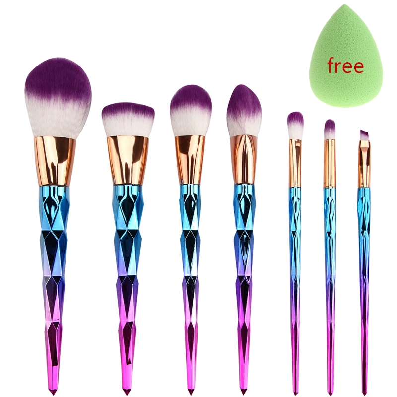 7pcs Makeup Brushes Sets Diamond Rainbow Handle Foundation Eyeshadow Blush Concealer Contour Powder Lip Blending Face Brush Kits