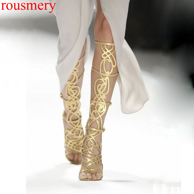Factory Sexy Gold Hollow out Knee High Boots Summer Thin High Heels Gold Fretwork Strap Thong toe Buckle Cutout Sandals Botas gold sexy gold thread embroidery hollow out lace crop top