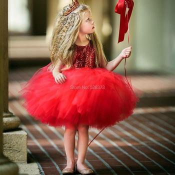 YNQNFS FG19 Real Tutu Child Outfits Photo Shoot Dress Birthday Party Dress Wedding Mini Short Red Flower Girl Dresses photo shoot