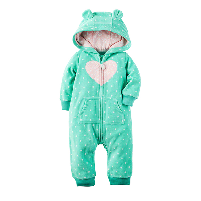 2017 Autumn&Winter Baby Boy girl Clothes Baby Rompers Fleece Newborn Clothing One Piece Green wave point Romper Hooded Sleepwear