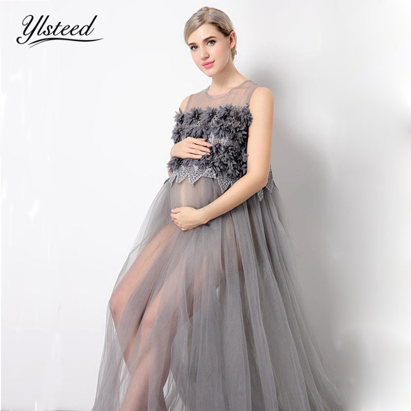 Sexy Pregnant Women Dresses Gray Mesh Floral Maternity Dress For Photo Shoot Maternity Photogrpahy Dress Fashion Mama Gown цена 2017
