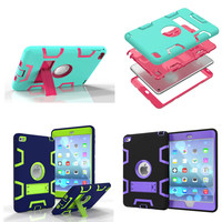 WES For Ipad Mini4 Cover Hybrid Armor Rubber Hard Plastic Silicone Shockproof Stand Back Case For