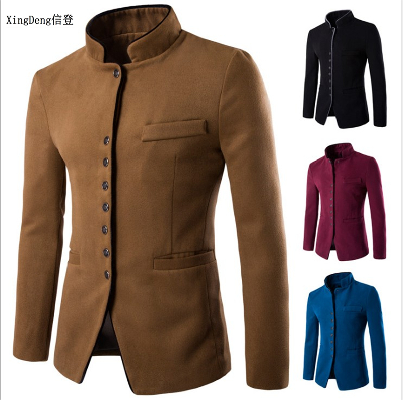 XingDeng Fall 2018 Men Chinese Suits Jackets Blazer For Quality Blazers Slim Fit Cotton Top Coat Costume Homme Clothing