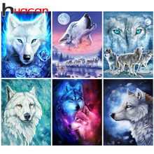 Huacan DIY 5D Diamond Painting Wolf Embroidery Animals Rhinestones Pictures Mosaic Full Square Beadwork